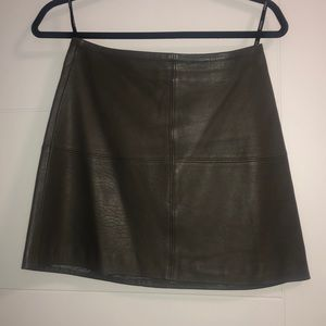 Kookai grey leather mini skirt